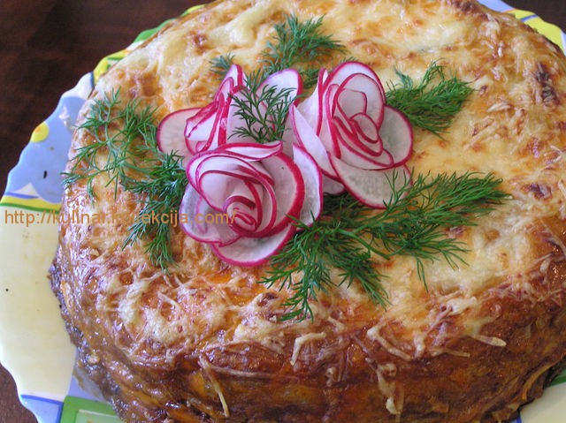 Закусочныйблинный торт рецепт с фото