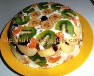 Фруктово-сметанный торт