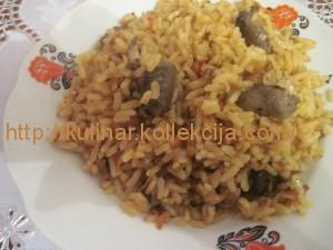 Рис с куриными сердечками