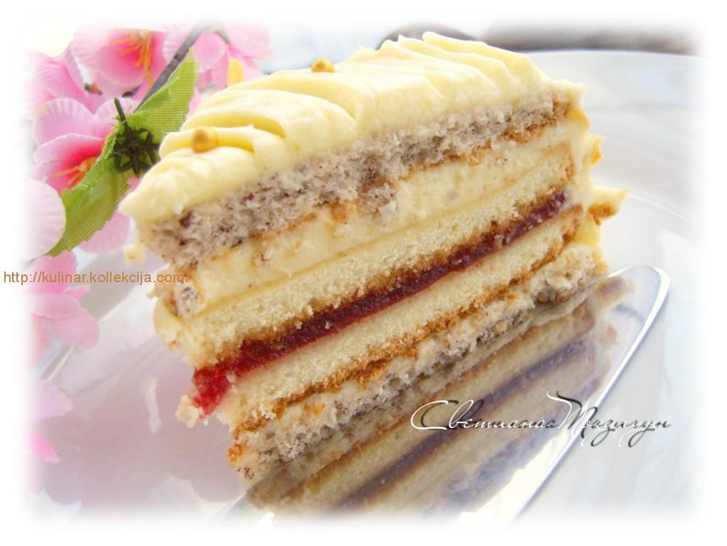 Торт бисквитный с орехами и кремом