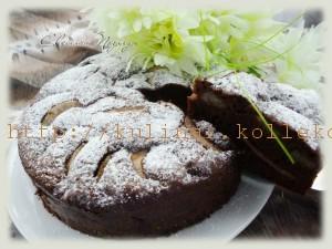 шоколадный пирог с грушей