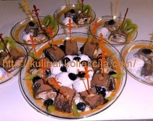 Десерт из шоколадных блинов