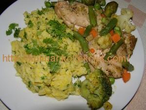Рис с яичной смесью