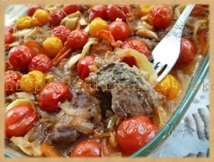 телятина с овощами в винном соусе