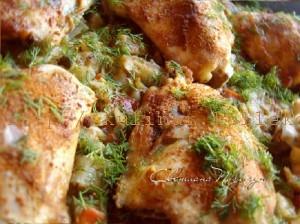 куриные бедра с капустой