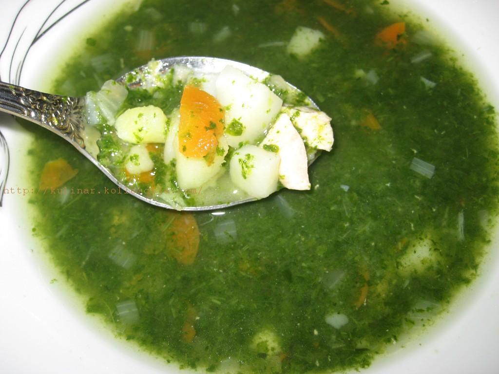 суп с курицей и шпинатом