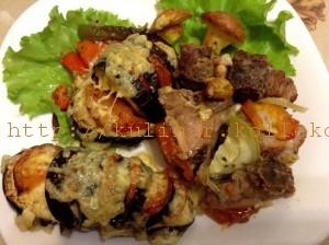 мясо, запеченное с овощами